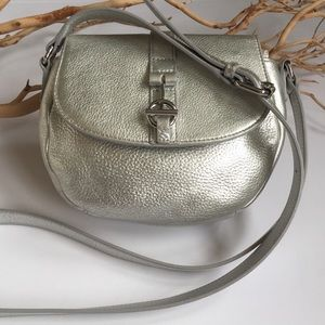 Silver Leather Crossbody Purse